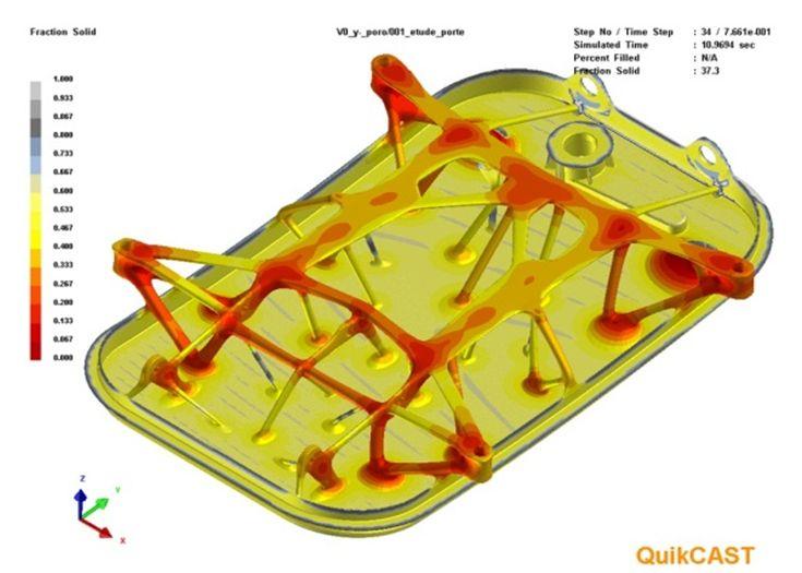 Simulation du remplissage et de la solidification d'une pièce de fonderie aéronautique