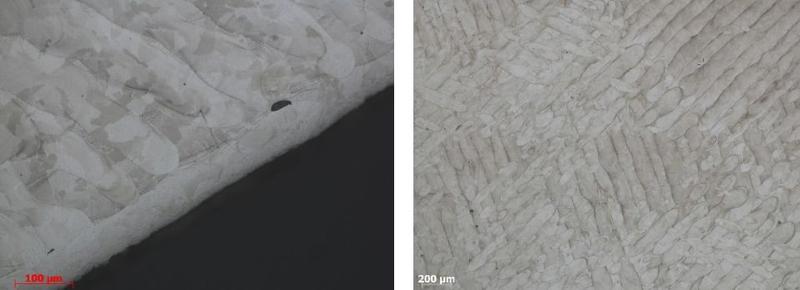 Microstructure et visualisation des passes de lasage.