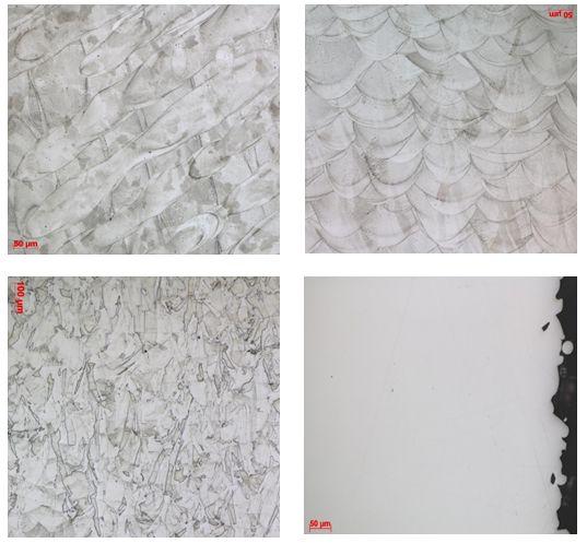 Microstructure très fine, porosités et infondus en surface (inox 316L)