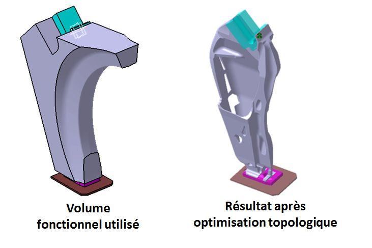 Volume d'optimisation topologique autorisé trop large