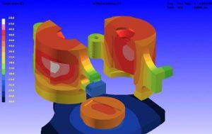 Simulation thermomécanique sur un élément de moule (code ProCAST)