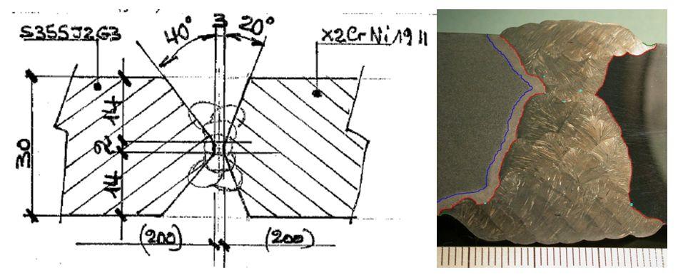 Géométrie d'une soudure d'une tôle en acier avec un acier inoxydable