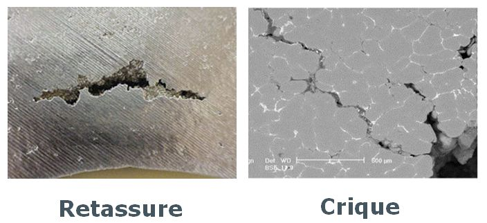 Défauts de solidification - retassure et crique