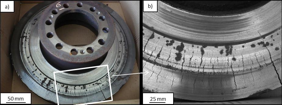 Disque de frein de poids lourd avec fissuration en surface