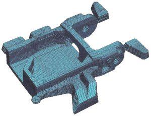 Maillage structuré d'une pièce (fonderie sous pression aluminium).