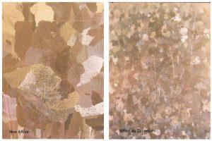 Bronze CuSn5Zn5 non affiné (gauche) et affiné au zirconium (droite).