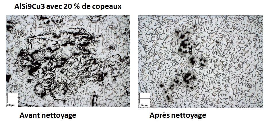 Qualité métallurgique dans un bain d aluminium avec 20 % de copeaux.