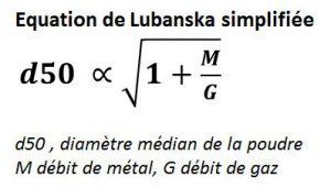 Equation de Lubanska pour calculer le diamètre de la poudre atomisée.